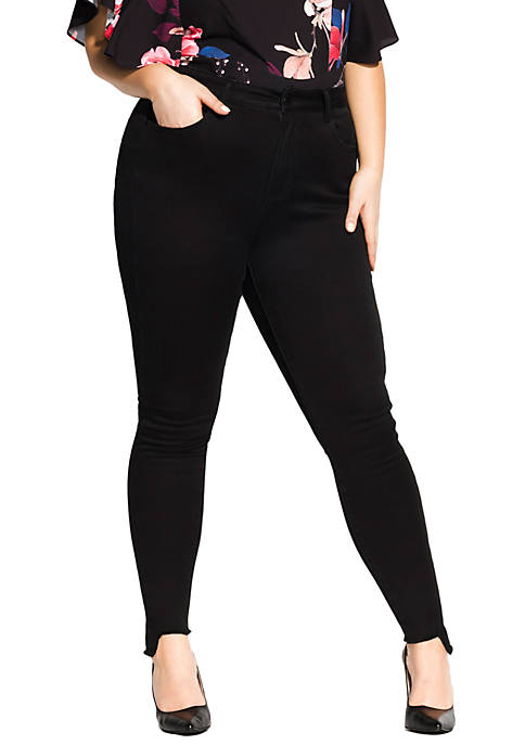 City Chic Plus Size Ankle Step Skinny Jeans