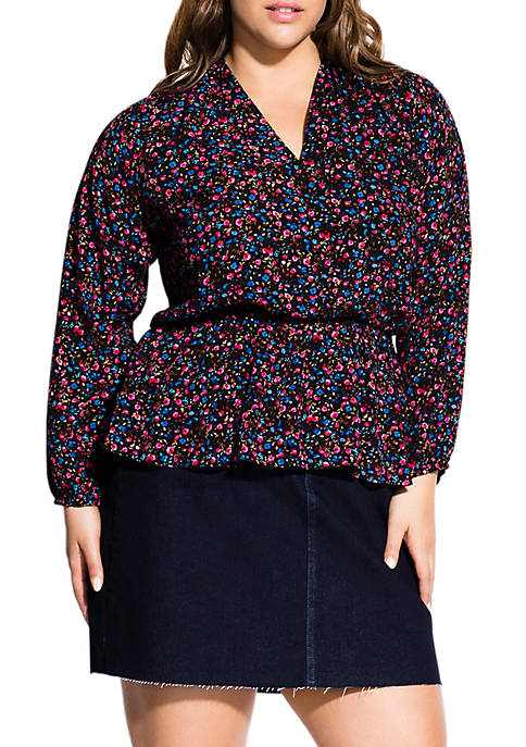 City Chic Plus Size Ditsy Floral Top