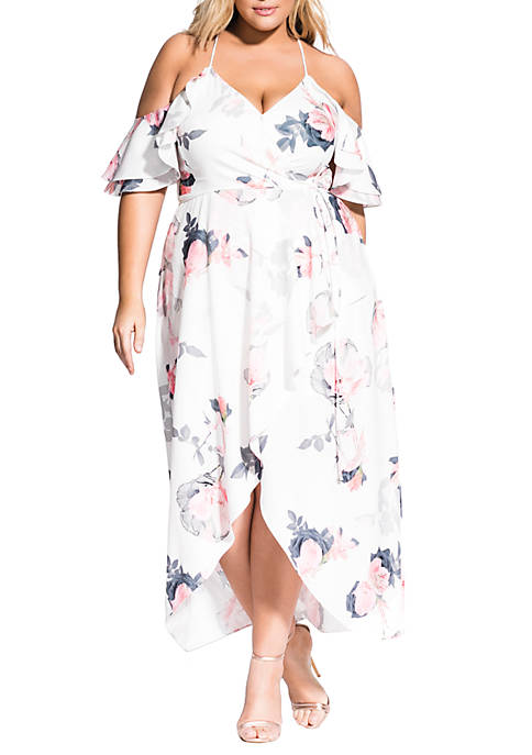 City Chic Plus Size Lily Pink Maxi Dress