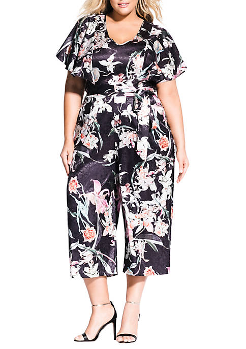 City Chic Plus Size Midnight Floral Jumpsuit