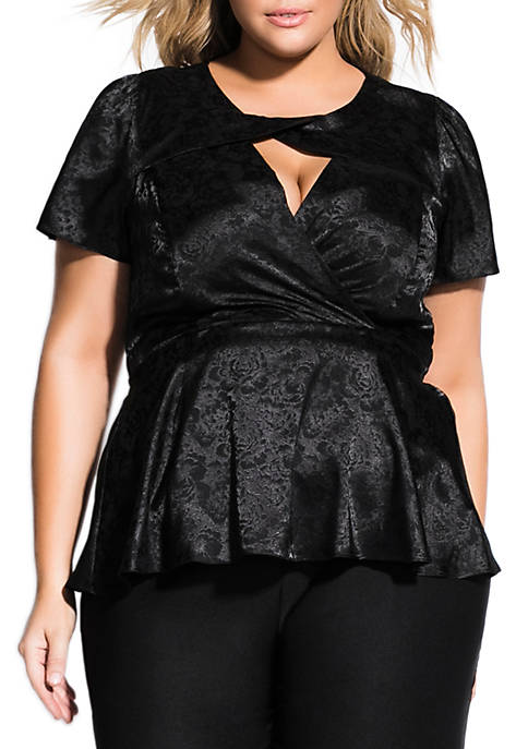 City Chic Plus Size Knot Decolette Top