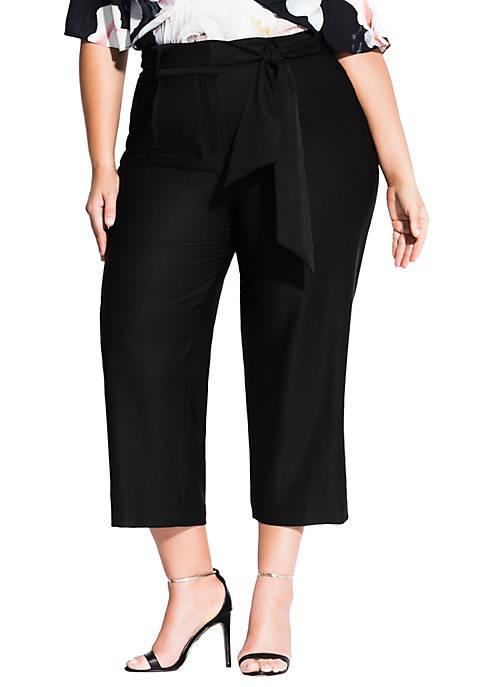 City Chic Plus Size Culotte Tie Pants
