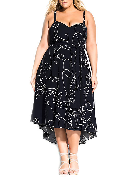 City Chic Plus Size Navy Swirl Dress