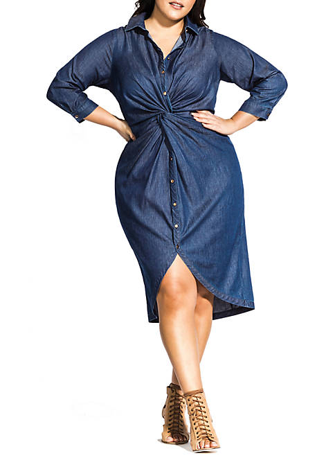 City Chic Plus Size Chambray Twist Dress