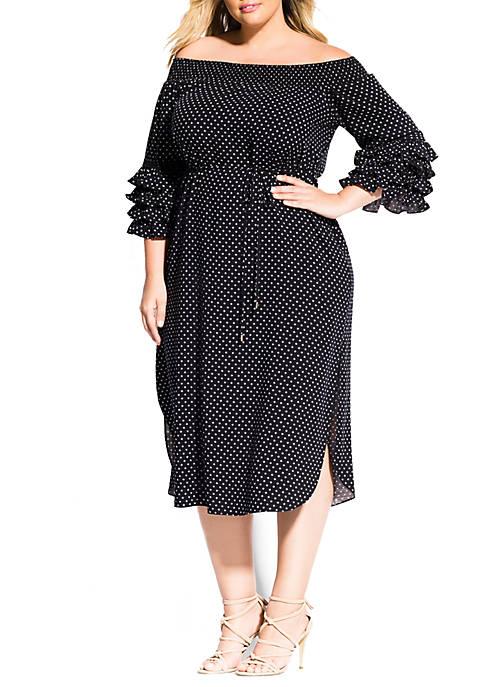 Plus Size Micro Spot Dress