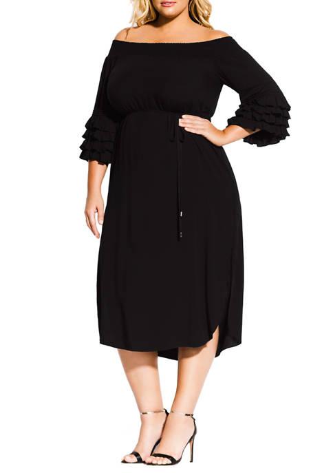 Plus Size Midi Tie Waist Dress