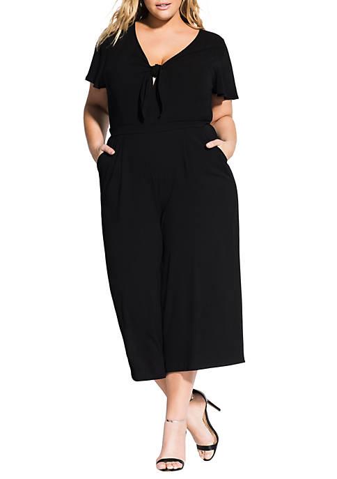 City Chic Plus Size Knot Front Jumpsuit