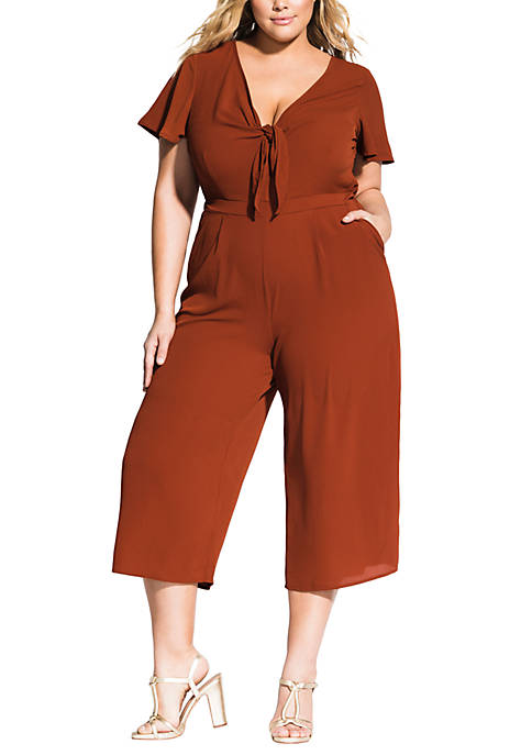 City Chic Plus Size Knot Front Jumpsuit