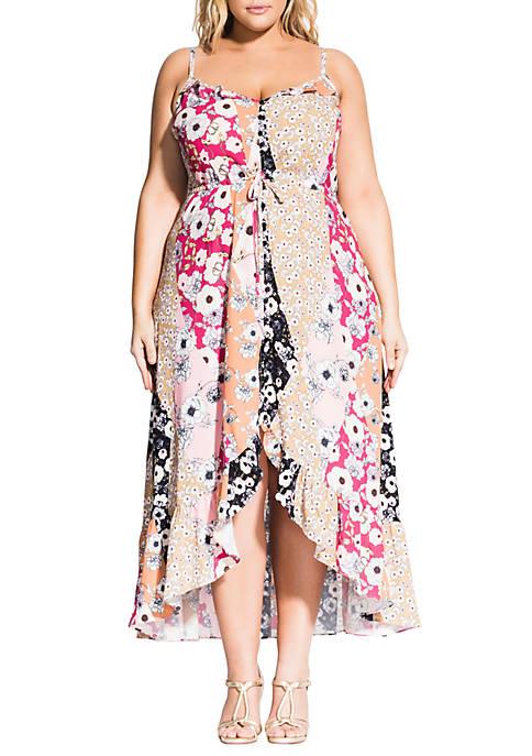 City Chic Plus Size Poppy Patch Maxi Dress
