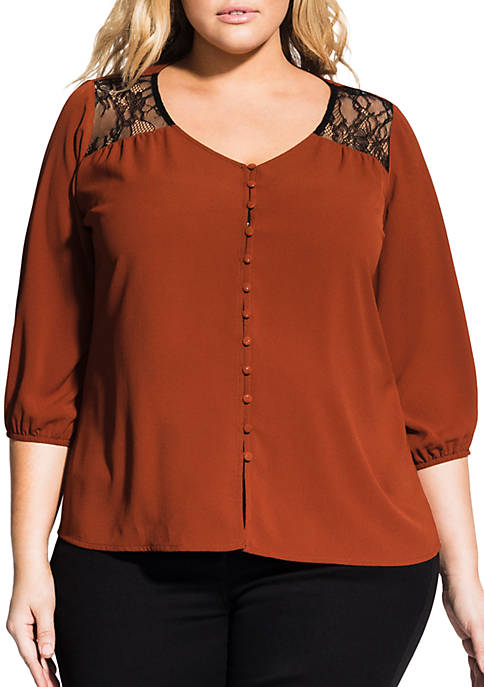 Plus Size Lace Shoulder Top