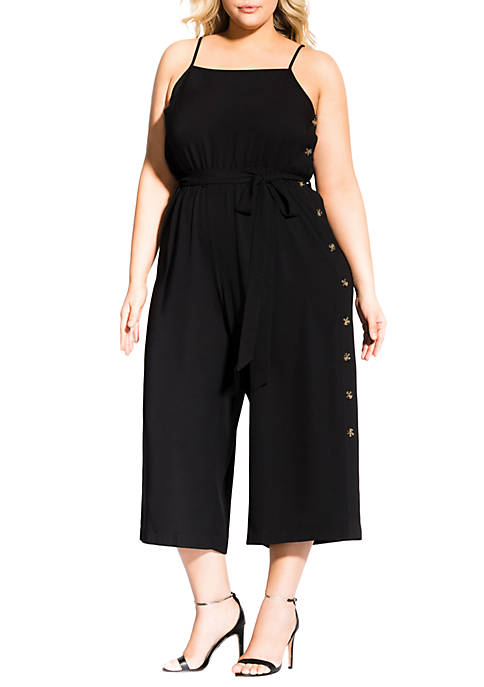 City Chic Plus Size Buttons Jumpsuit
