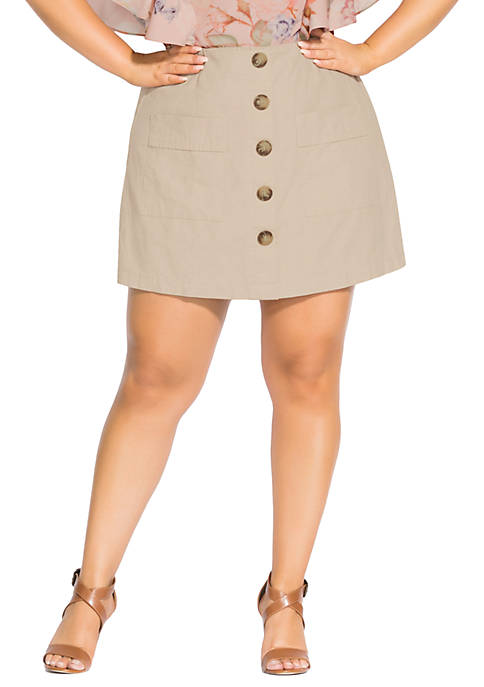 City Chic Plus Size Wild Buttons Skort