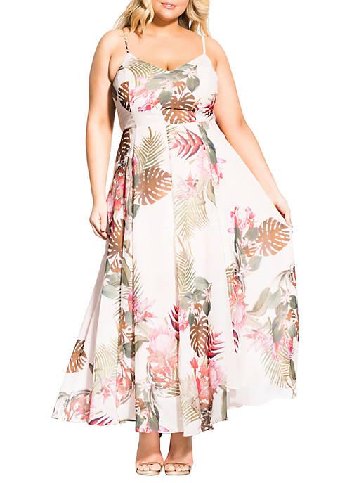 City Chic Plus Size Paradise Palm Maxi Dress