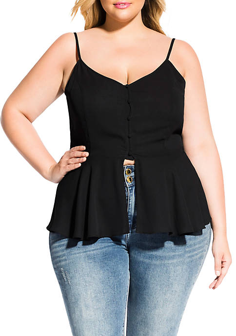 City Chic Plus Sized Softly Buttoned Top