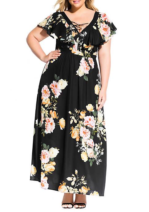City Chic Plus Size Tuscan Rose Maxi Dress