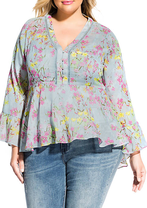 City Chic Plus Size French Fields Top
