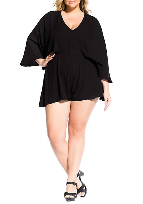City Chic Plus Size Cape Back Playsuit