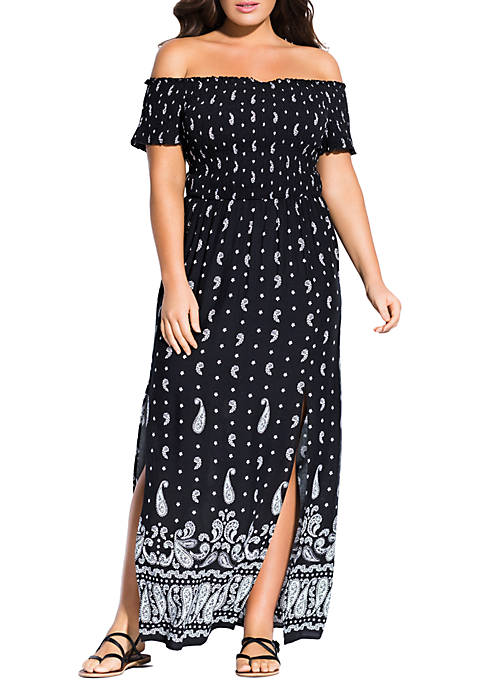 City Chic Plus Size Black Paisley Maxi Dress