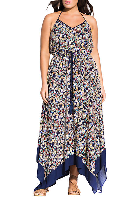 Plus Size Boho Border Hem Maxi Dress