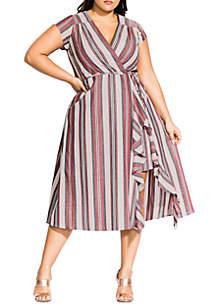 City Chic Plus Size Be Free Stripe Dress