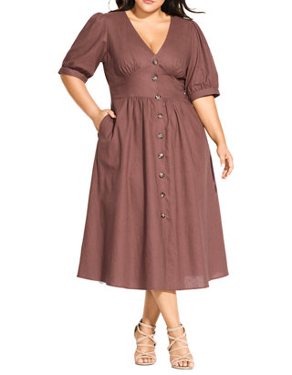 Plus Size Sunset Stroll A Line Dress