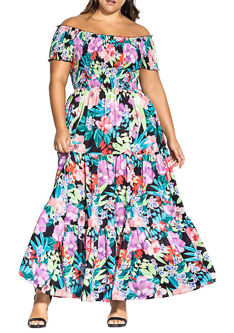 City Chic Plus Size Maxi Exotic Blooms Dress