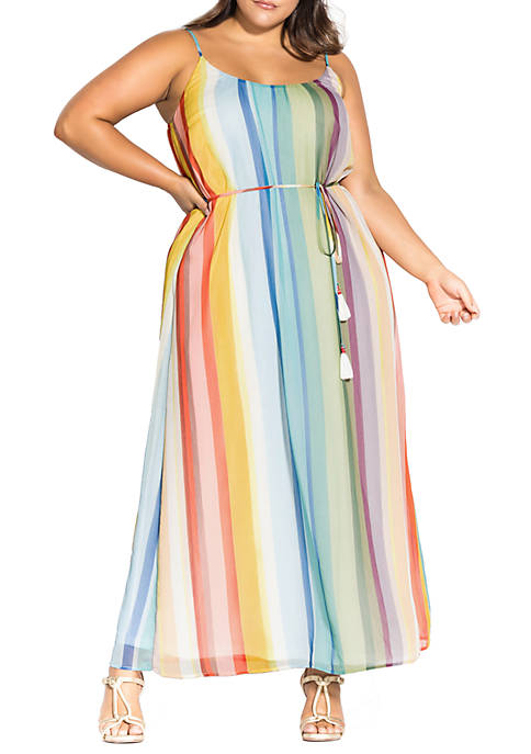 City Chic Plus Size Maxi Gelato Stripe Dress