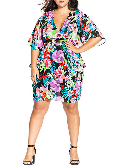 City Chic Plus Size Exotic Blooms Dress