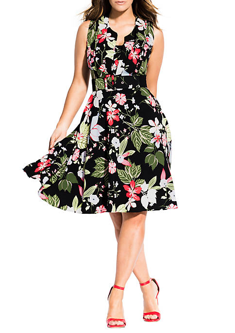 City Chic Plus Size Abstract Floral Dress