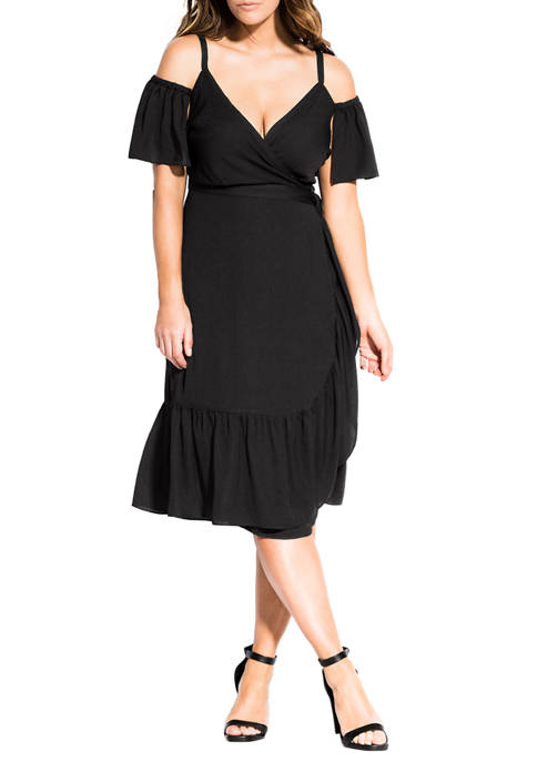 Plus Size Wrap Off the Shoulder Dress