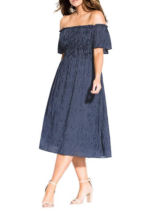 Plus Size Fun Smock Stripe Dress