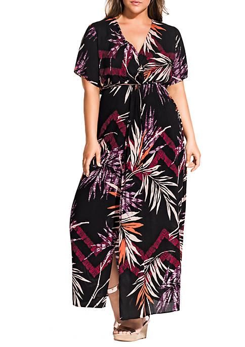 Plus Size Maxi Bay Islands Short Sleeve Dress