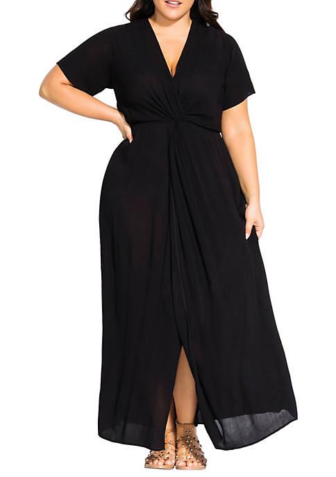 City Chic Plus Size Maxi Knot Front Dress