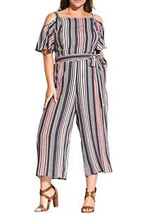 City Chic Plus Size Rose Stripe Jumpsuit
