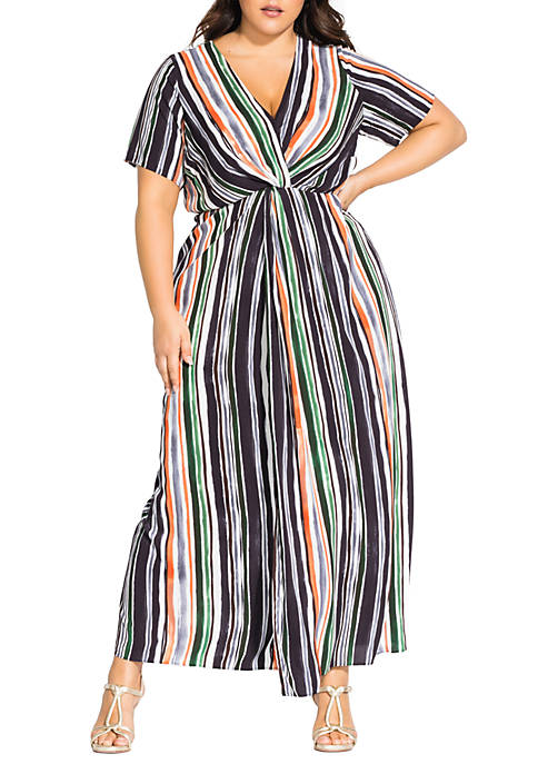 City Chic Plus Size Maxi Jungle Stripe Short