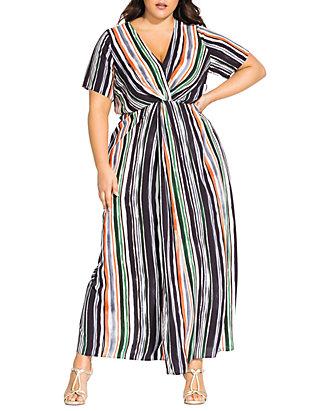Plus Size Maxi Jungle Stripe Short Sleeve Dress