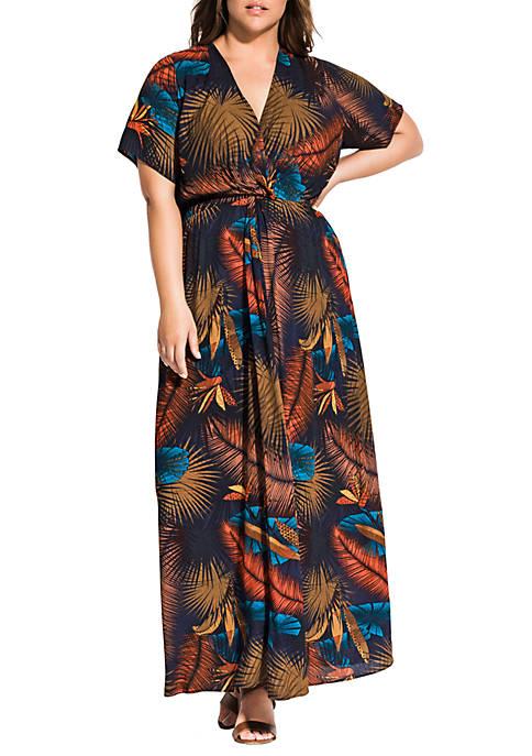 Plus Size Canopy Short Sleeve Maxi Dress