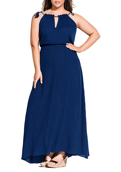 City Chic Plus Size Maxi Tassel Shoulder Dress