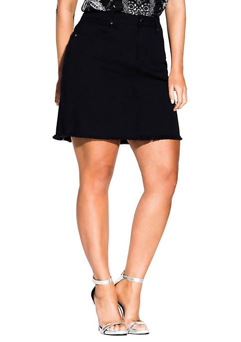 City Chic Plus Size Distressed Hem Skirt