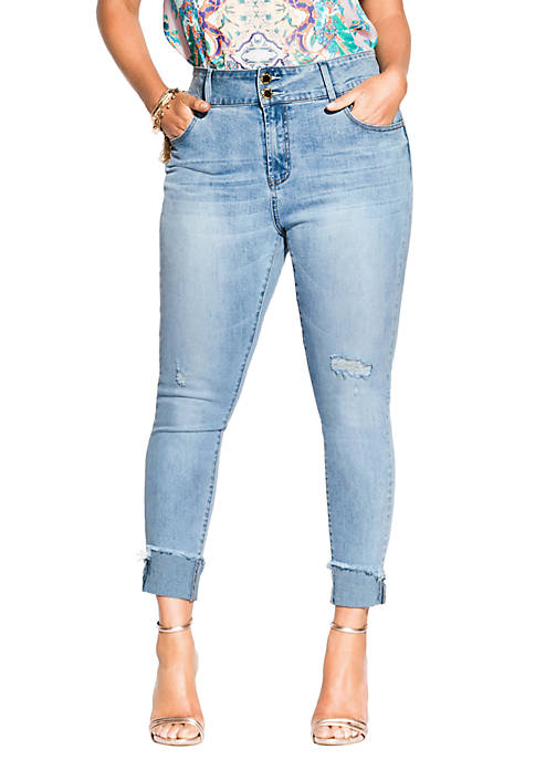 City Chic Plus Size Asha Crop Skinny Jeans
