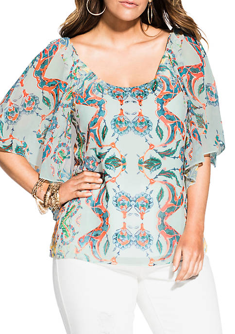 City Chic Plus Size Casablanca Short Sleeve Top