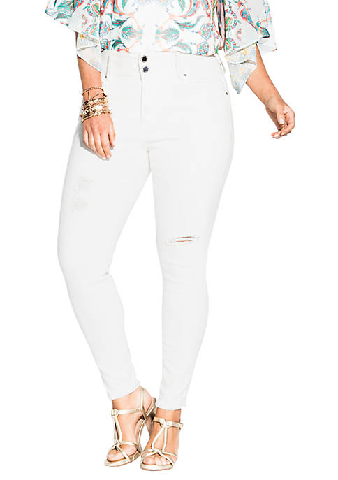 City Chic Plus Size Harley Detail Skinny Jeans