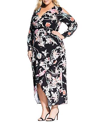 Plus Size Midnight Floral Maxi Dress