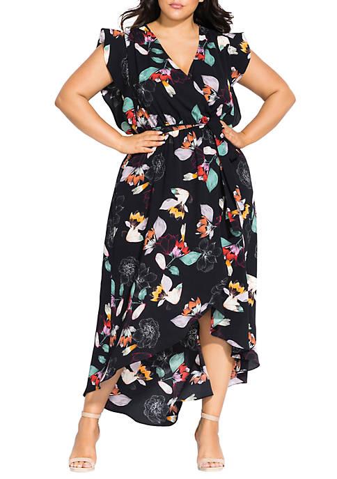 City Chic Plus Size Sketch Floral Maxi Dress