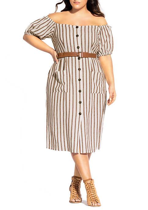 Plus Size Button Detail Dress