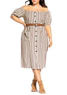 City Chic Plus Size Button Detail Dress