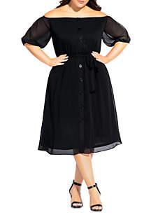 City Chic Plus Size Button Through Dress