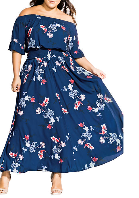 City Chic Plus Size Lotus Love Maxi Dress