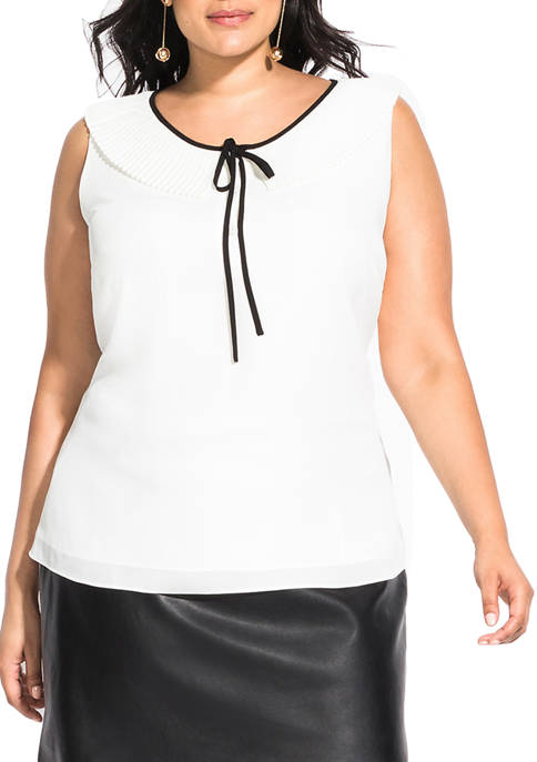 City Chic Plus Size Pleated Tie Top