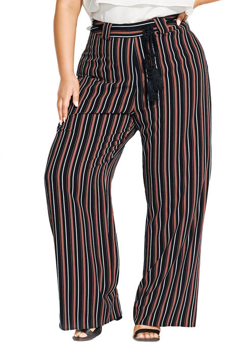 City Chic Plus Size Natural Stripe Pants